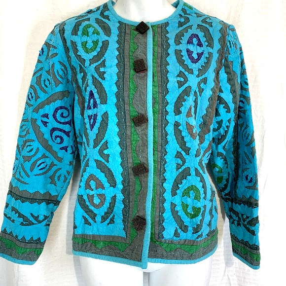 The Territory Ahead Jackets & Blazers - THE TERRITORY AHEAD Blue & Green ARTSY Jacket  M P